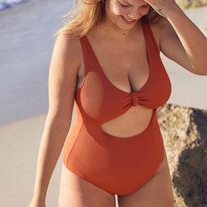 AERIE | NWT Tie Front Ribbed One Piece